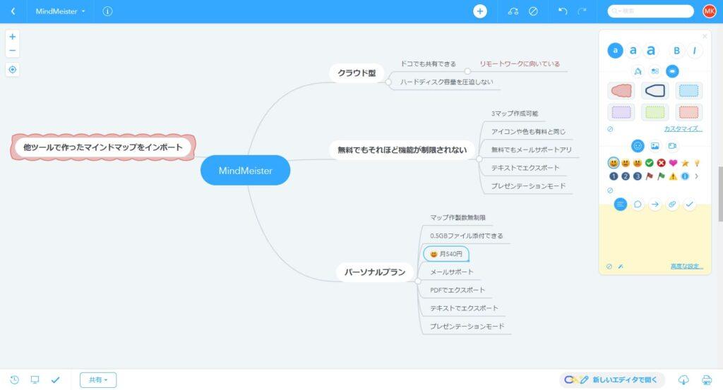 MindMeisterでマインドマップ作成